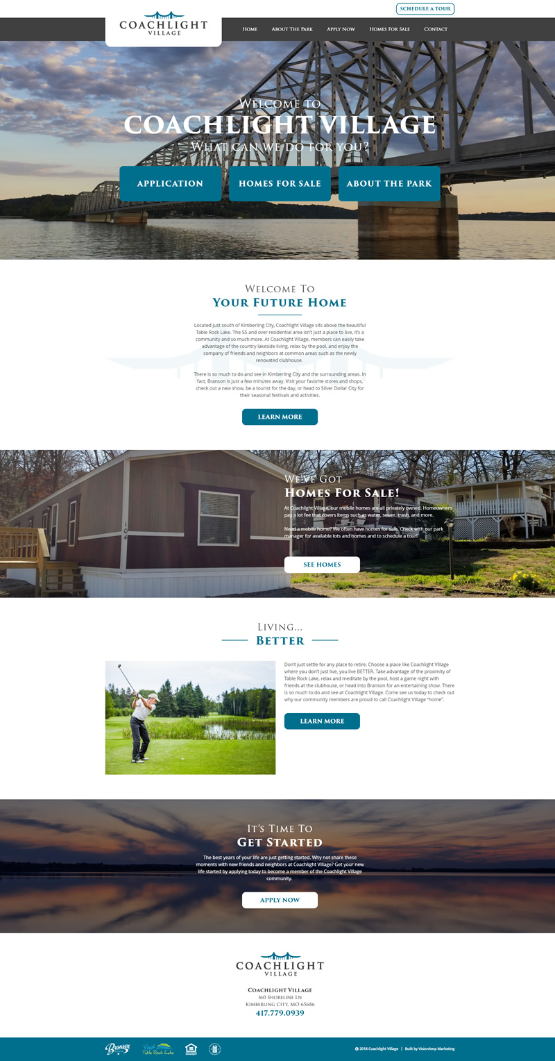 Coachlight Village Full Web Design Image