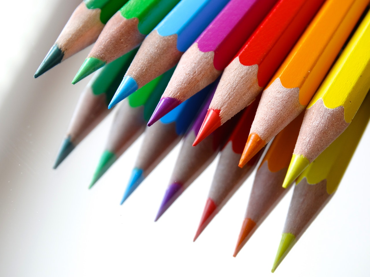 Back to school marketing with colored pencils.