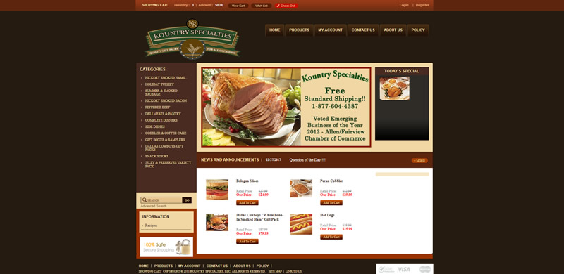 Kountry Specialties Full Web Design Image
