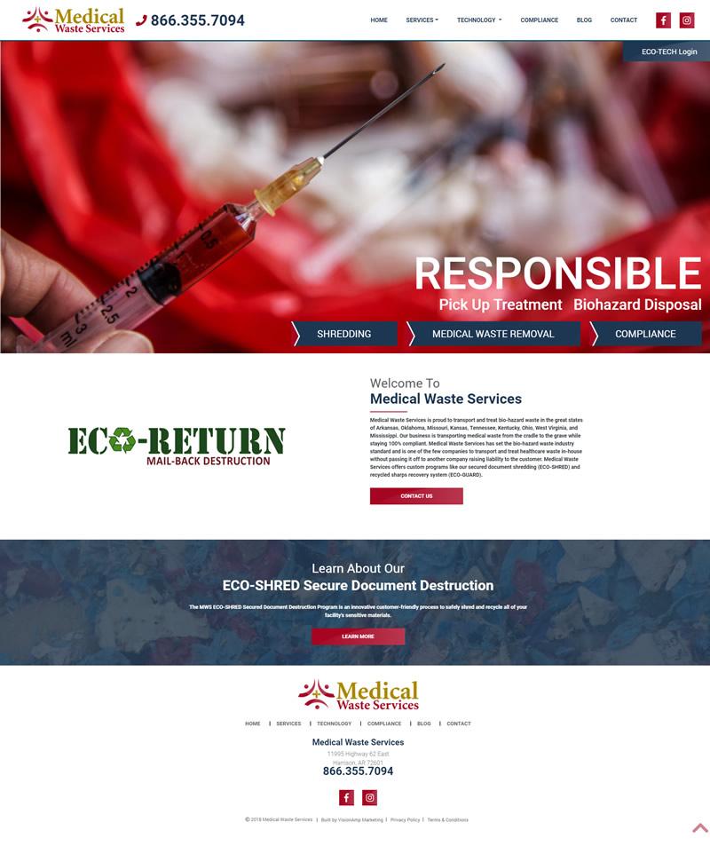Medical Waste Services Full Web Design Image