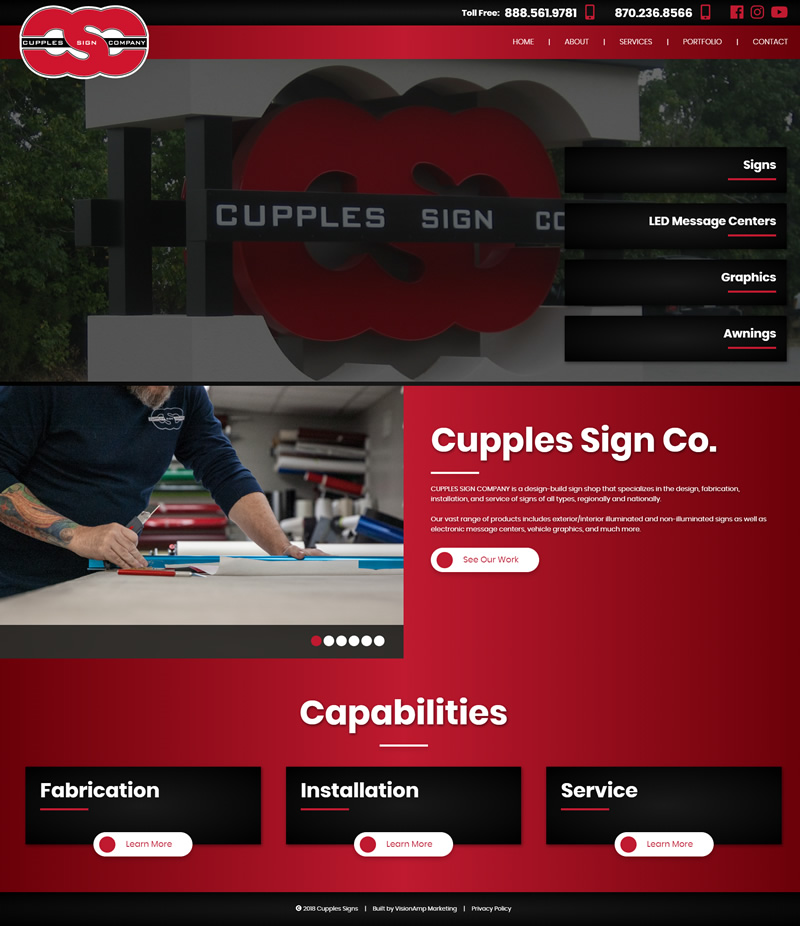 Cupples Sign Company Full Web Design Image