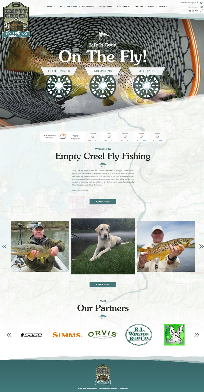Empty Creel Fly Fishing Full Web Design Image
