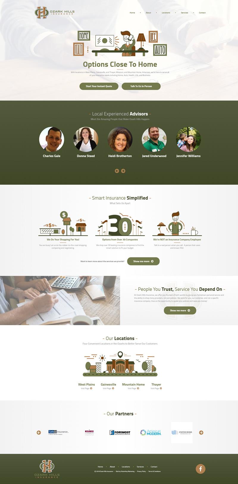 Ozark Hills Insurance Full Web Design Image