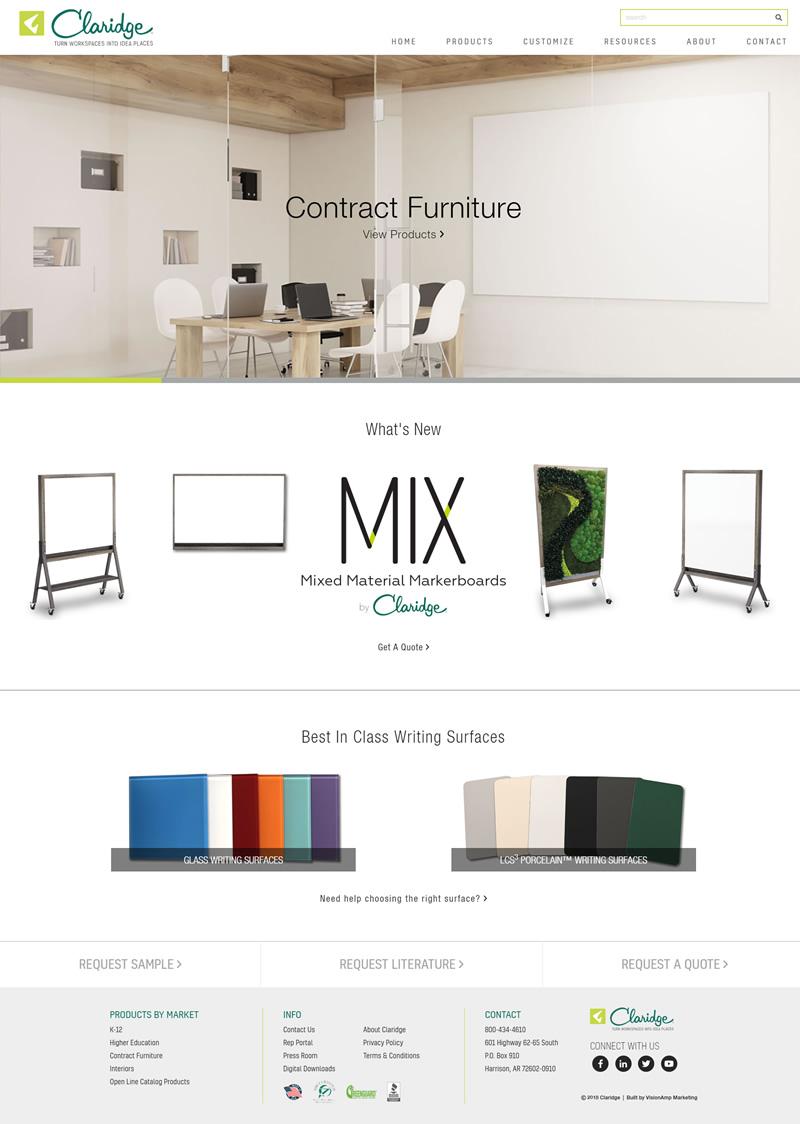 Claridge Products Full Web Design Image