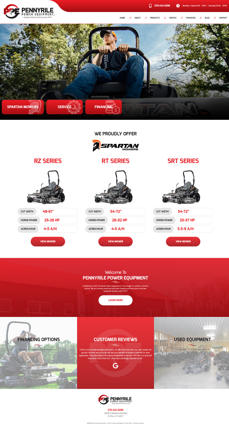 Pennyrile Power Equipment Full Web Design Image