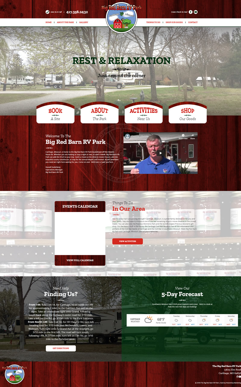 Big Red Barn RV Park Full Web Design Image