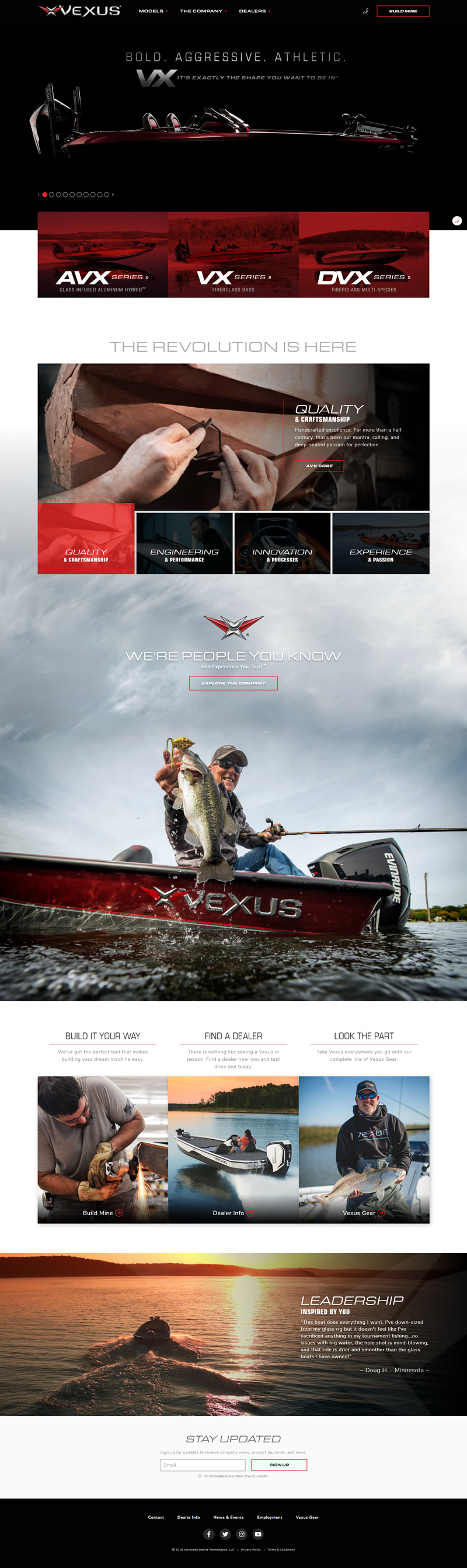 Vexus Boats Full Web Design Image