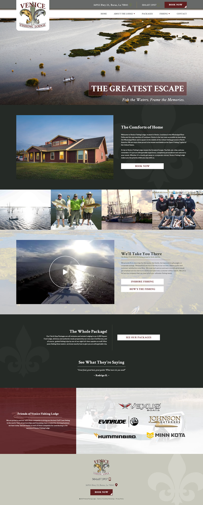 Venice Fishing Lodge Full Web Design Image
